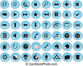 web, icona, set, lucido