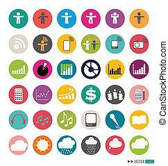 web, illustration., icone, set., domanda, vettore