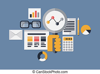 web, illustrazione, analytics