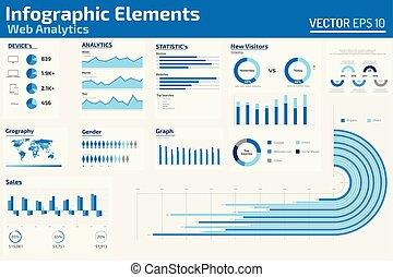 web, infographic, elementi, analytics