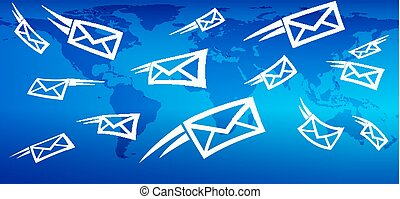 web, invio, marketing, globale, fondo, messaging, posta, email