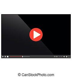 web, isolato, giocatore, vettore, video, bianco
