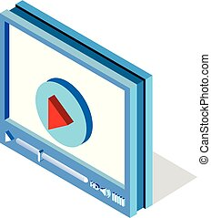 web, isometrico, mobile, application., luogo, illustrazione, giocatore, vettore, video, interfaccia, disegno, bianco, o