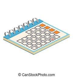 web, isometrico, utile, illustration., anche, domanda, infographics., vettore, disegno, interfaccia, calendario, icon.