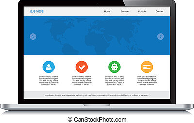 web, laptop, disegno, fondo, sensibile, bianco