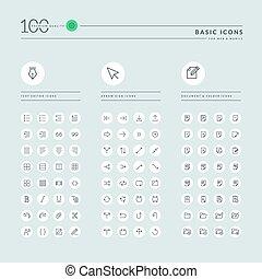 web, linea, magro, collezione, icone