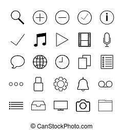 web, linea, magro, icone