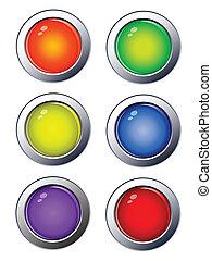 web, lucido, bottoni, icone