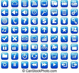 web, &, media, bottoni, internet, nuovo