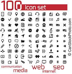 web, media, vettore, nero, 100, icona