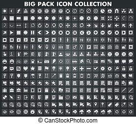 web, metallico, collezione, icone