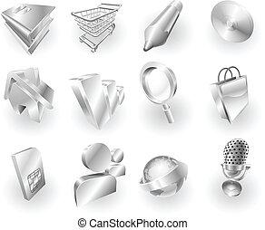 web, metallo, set, icona, domanda, metallico