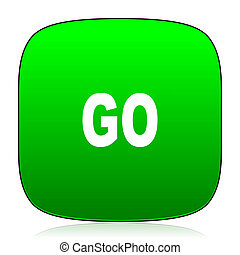 web, mobile, app, verde, andare, icona