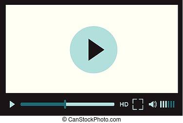 web, mobile, application., luogo, illustrazione, giocatore, vettore, video, interfaccia, disegno, bianco, o