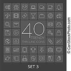 web, mobile., icone, 40, 3, set, magro, trendy, linea