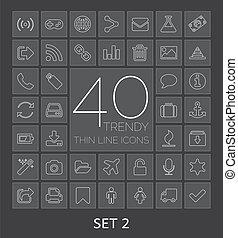 web, mobile., icone, 40, set, magro, trendy, 2, linea