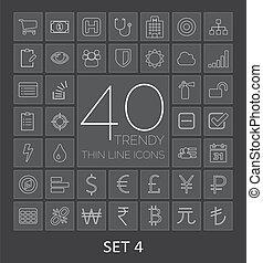 web, mobile., icone, 40, set, magro, trendy, linea, 4
