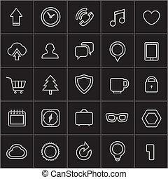web, moderno, collezione, icone