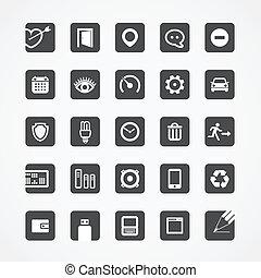 web, moderno, quadrato, collezione, icone