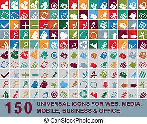 web, multicolor, icone