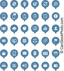 web, nubi, icone, collezione, vettore, discorso