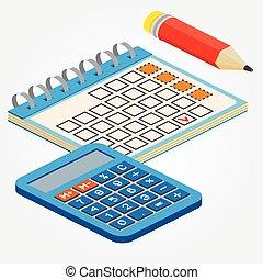 web, pencill, anche, infographics., calcolatore, isometrico, calendario, utile, domanda, bianco, vettore, disegno, fondo., illustration., interfaccia