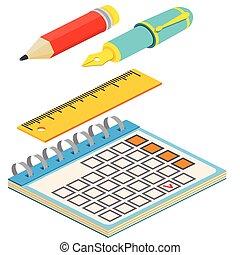web, penna, anche, infographics., isometrico, matita, utile, illustration., calendario, domanda, bianco, vettore, righello, disegno, fondo., fontana, interfaccia