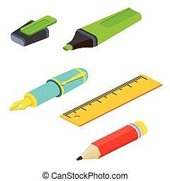 web, penna, anche, infographics., pennarello, isometrico, matita, utile, illustration., domanda, bianco, vettore, righello, disegno, fondo., fontana, interfaccia