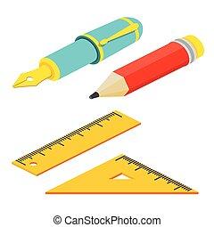 web, penna, anche, infographics., regoli, isometrico, illustration., utile, matita, domanda, vettore, bianco, disegno, fondo., fontana, interfaccia