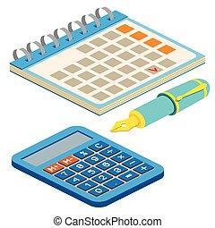 web, penna, calcolatore, anche, infographics., isometrico, illustration., utile, calendario, domanda, bianco, vettore, disegno, fondo., fontana, interfaccia