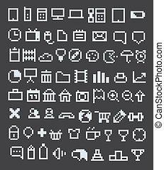 web, pixel, collezione, icone
