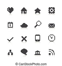 web, pixel, icone