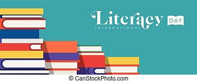 web, scolari, libri, bandiera, giorno, alfabetismo