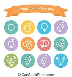 web, segno, bianco, vettore, sessuale, orientamento, icone, simbolo