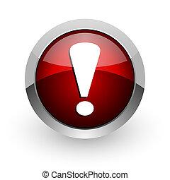 web, segno, lucido, esclamazione, icona, cerchio, rosso