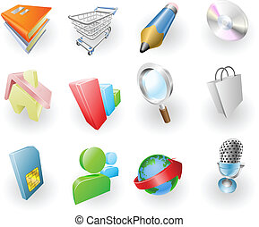 web, set, colore, dinamico, domanda, icona