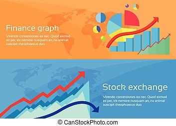 web, set, finanza, scambio, grafico, grafico, bandiera, casato