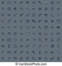 web, set, grigio, professionale, 100, icona