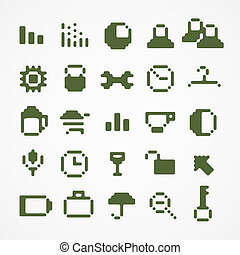 web, set, icone, collection., 1, pixel