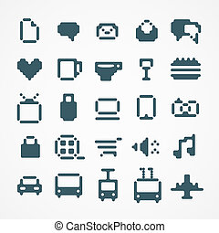 web, set, icone, collection., 2, pixel