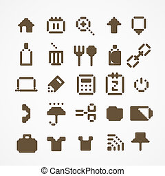 web, set, icone, collection., 3, pixel