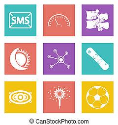 web, set, icone, colorare, 40, disegno