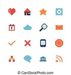 web, set, pixel, icone