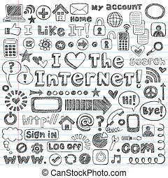 web, set, scarabocchiare, vettore, icona internet