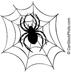 web, silhouette, ragno