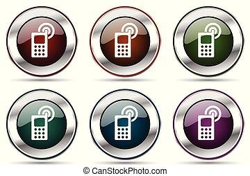 web, smartphone, icone, cromo, set., telefono, metallico, mobile, domande, vettore, disegno, bordo, argento, icona