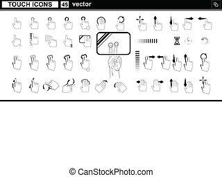web, touchscreen, icons., mano, vettore, interfaccia