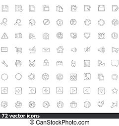 web, vettore, collezione, icone