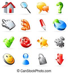 web, vettore, icons.
