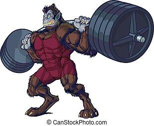 weightlifting, uomo, mascotte, bestia